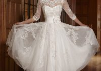 tea length 34 long sleeves illusion lace wedding dress Informal Wedding Dresses Tea Length