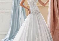this david tutera gown in sea mist color is so chic and David Tutera Disney Wedding Dresses