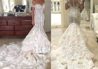 tulle lace appliqued beaded off the shoulder mermaid bride Steven Khalil Wedding Dresses
