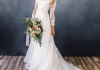us 1488 20 off2019 modest a line wedding dresses with long sleeves scoop neck champagne lace appliques flowers lds bridal gowns in wedding dresses Modest Lds Wedding Dresses