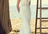 v neck cap sleeve lace and crepe fit and flare wedding dress Capped Sleeve Lace Wedding Dress