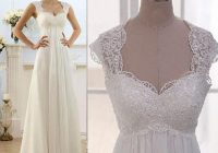 vintage modest bridal wedding gowns capped sleeves empire waist plus size beach chiffon country style dresses garden wedding dresses ivory wedding Capped Sleeve Wedding Dress
