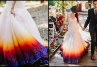 young bride dip dyes her wedding gown to add an elegant Dyeing Wedding Dress